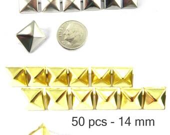 50 pcs - 9/16 po (14 mm). Nailheads taches Pyramid Studs - 2 broches (2 cuisses) Square Stud Spike - pour le bricolage sac, chaussures, sur la mode des vêtements