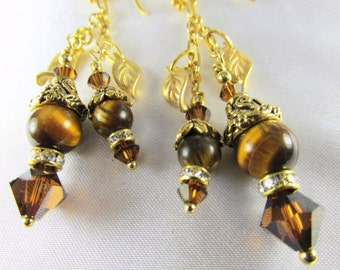 Brown Tigers Eye Semiprecious Stone and Gold Double Dangle Earrings on 22k Gold Vermeil Wires
