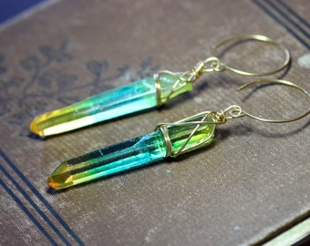 Rainbow Multicolor Quartz Point Hoop Earrings Aura Quartz Crystal Boho Rustic Jewelry