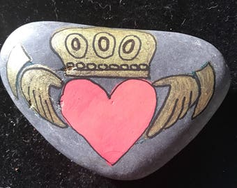 Claddagh rock painting . Personalize it!!