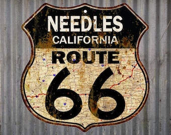 Needles, California Route 66 Vintage Look Rustic 12X12 Metal Shield Sign S122057