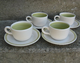franciscan earthenware cups and saucers green hacienda 1970s dinnerware collectible