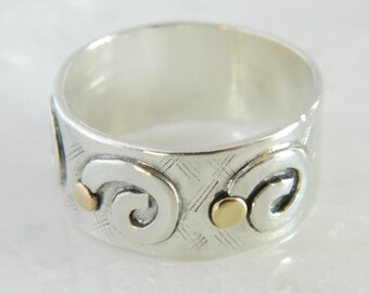 Vintage Sterling Silver & 14K Yellow Gold Ring size 7