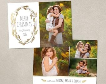 Digital Photoshop Christmas Card Template for photographers PSD Flat card - Gold Wreath CC109