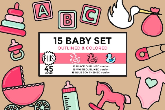 Baby Clipart Newborn Shower Girl Boy Elements Set Outlined Colored Vector Graphics From