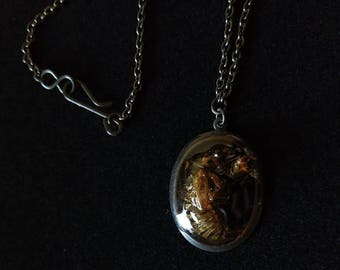 Cicada Exoskeleton Pendant Necklace 22""