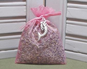 "Party favor, lavender sachet, dried lavender, mermaids, favors, baby shower, nursery decor, mermaid charm, 3"" by 4"" rose pink organza bag"