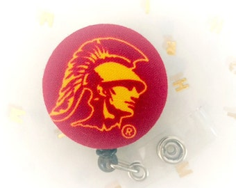 USC Trojans Reel - Fabric Covered Badge -  Badge Holder - Retractable Badge Reel - ID Badge Clip - Nurse - RN Badge -  Badge - Cotton Badge