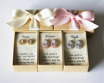 Bridesmaids earrings, Tear drop CZ stud earrings, Bridesmaids gifts, Silver Cubic Zirconia studs, Rose Gold bridesmaid gift,Gold bridal gift