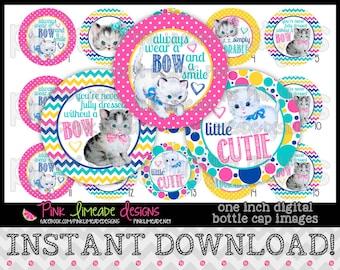 "Vintage Kittens - INSTANT DOWNLOAD 1"" Bottle Cap Images 4x6 - 718"