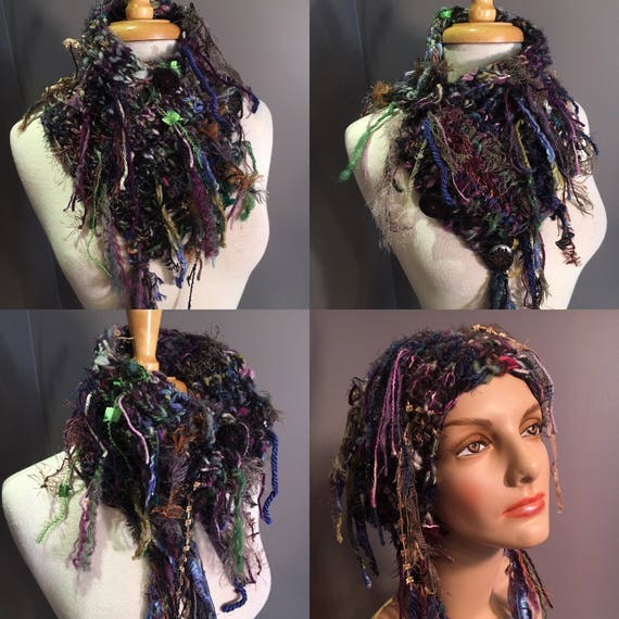"Hand Knit handspun art yarn chinky neck cowl, choker with buttons,  ""Grape Wrath"", handspun yarns, chunky scarves, mohair, fringe, headband"