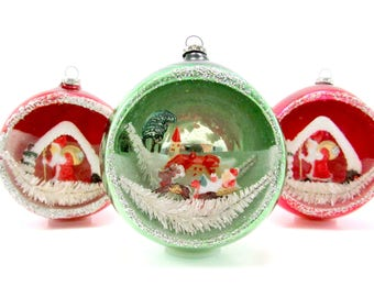 Jumbo Vintage Glass Diorama Christmas Ornaments 1950s Christmas Decorations Japan Baubles