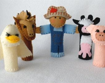 "Felt Farm Finger Puppets,  Set of Five,  Farmer,  Horse,  Cow,  Pig,  Duck, Storytelling Props,  ""Down On The Farm"""