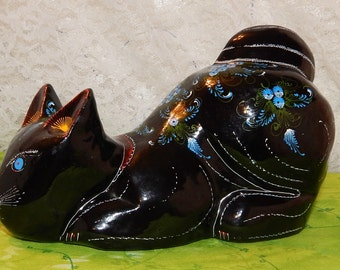 Hand Painted Black Lacquered Wood Cat with Blue Floral Design, Tiny Dash Strokes