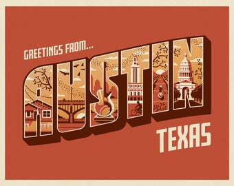 Greetings From Austin Art Print