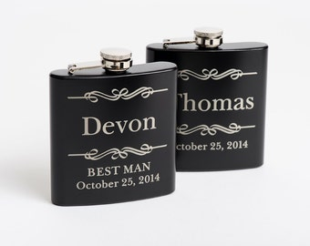 Laser Engraved Flask, Personalized Groomsmen Gift, Best Man Gift, Birthday Gift, Engraved Flasks, Flasks