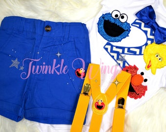 3-pc set Sesame street Big Bird Cookie Monster Elmo inspired birthday outfit - include personalised top and bottom 12months