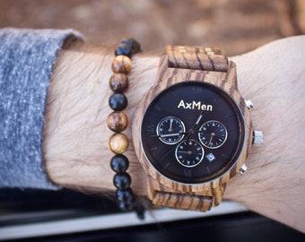 FREE Engraving, Wood Watch, Mens Wood Watch, Wooden Watch, Chronograph Watch, Mens Wooden Watch, Personalized Watch, Wedding Groom Gift