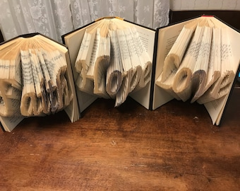 Folded Book Art- Faith, Hope, Love