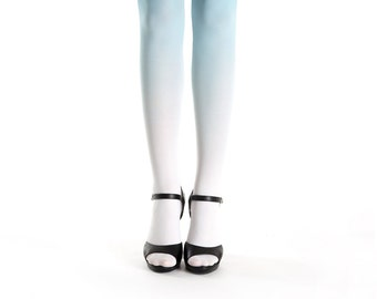 Ombre tights white-turquoise