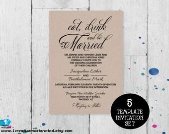 DIY Wedding Invitation Template, Invitation Printable, Wedding Invitation Suite, Invitation set, Printable Invitation, Instant Download,