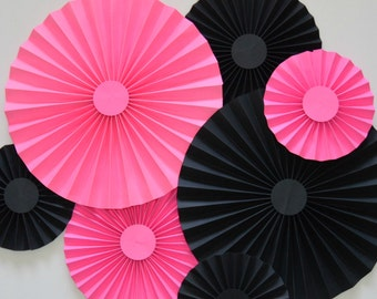 Pink and Black Rosettes, Paper Fans, Pinwheels, Party Decoration, Cake Backdrop, Photo Backdrop