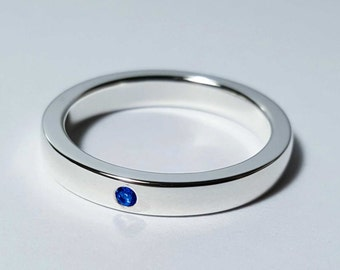 Thin Blue Sapphire Band in Sterling Silver - Sterling Blue Sapphire Band, Sterling Blue Sapphire Ring, Silver Blue Sapphire Ring, Wedding