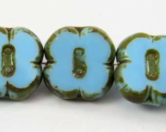 Aqua Blue Clover Flower 12MM 4 Petal Opaque Picasso Premium Czech Glass 6 Beads PTCFLCL003