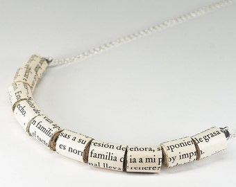 Paper Bead Jewelry- Spanish Upcycled Paper Bead Necklace, Spanish Jewelry, Paper Jewelry, Book Jewelry, Book Lover Gift by Tanith Rohe