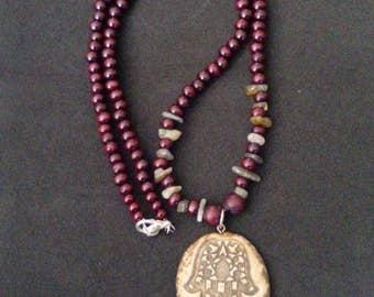 Labradorite crystal necklace. Hamsa crystal necklace. Rose cherry wood necklace. Bohemian necklace.
