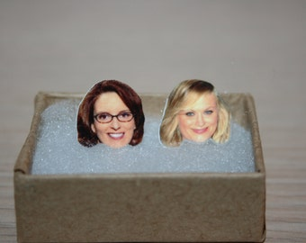 Tina Fey Amy Poehler BFF Best Friend Post Stud Earrings Celebrity Jewelry