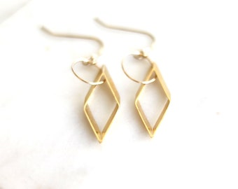 Gold earrings Kite shape diamond shape geometric jewelry Edgy look Modern minimalist contemporary look by VitrineDesigns