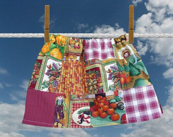 Girls Fall Skirt, Handmade Skirt, Patchwork Skirt, Thanksgiving Skirt, Multi Colors, Elastic Waist, Unique Clothing, Pumpkins Pilgrims, OOAK