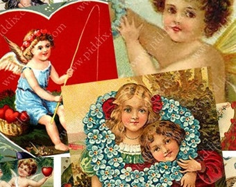 Victorian Valentines in .85 inch squares for scrabble tile pendants and more -- piddix digital collage sheet no. 436