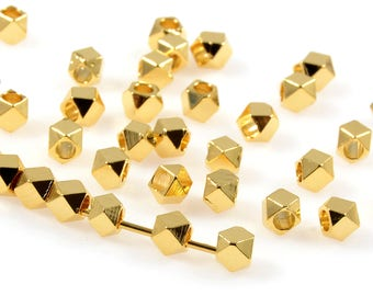 Diamond Cut Beads, 3mm, Gold Spacer Beads, Tarnish Resistant Beads, Lead Free, Brass Beads, Large Hole Beads, 1.8mm Hole
