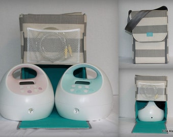 Half size Alana Spectra Breast Pump bag in Coastal Gray stripe