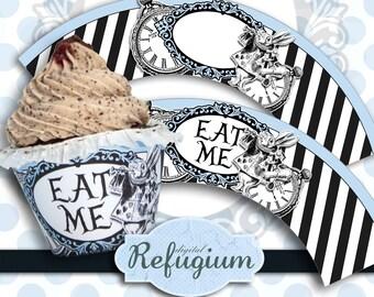 Cupcake Wrappers Alice in Wonderland, Digital Collage Sheet, Instant Download