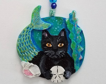PurrMaid Cat ~ Black Cat ~ Cat Ornament ~ Nautical Ornament ~ Mermaid Ornament ~ Mercat ~ Christmas Ornament ~ Gift For Cat Lover