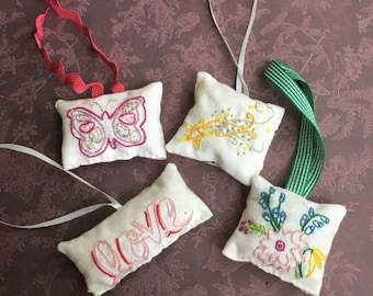 Hand Embroidered Ornament Medley