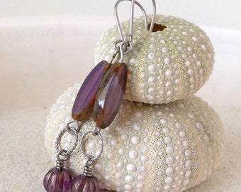 Hypoallergenic Earrings for Sensitive Ears - Titanium Earrings - Handmade Earrings - Boho Earrings - Purple Earrings - Beaded Jewelry