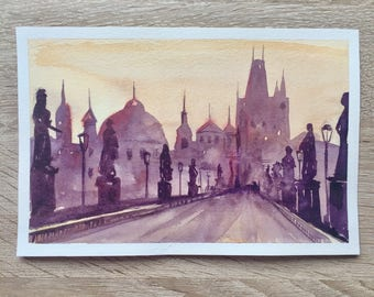 Original watercolor painting Prague Czech Republic Charles bridge Karluv most