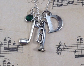 Clearance Bugle Necklace, Silver Bugle Jewelry Single Music Note present Music Gifts Army Jewelry initial birthstone personalized custom 115