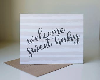 Welcome Baby Card, New Baby Card, New Baby Girl Card, New Parents Greeting Card, Pink Baby Greeting Card, New Baby Girl, New Arrival Card