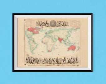 British empire map etsy map of the british empire 1864 vintage britain map of poster fine art reproduction gumiabroncs Choice Image