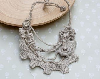 Linen bib necklace, rustic statement jewelry with bamboo bead, ecru, oatmeal, OOAK