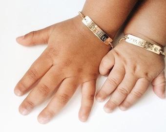 Baby bracelet etsy personalized baby bracelet gold baby bracelet baby gift bar bracelet flower girl negle Gallery