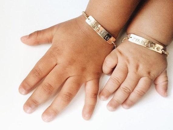 Personalized Baby Bracelet Gold Baby Bracelet Baby Gift Bar