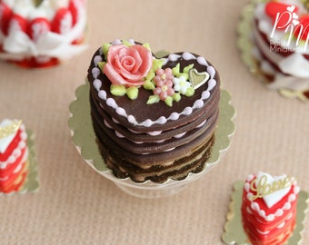 MTO-Heart Shaped Chocolate Valentine's Millefeuille with Pink Rose - Miniature Food in 12th Scale for Dollhouse