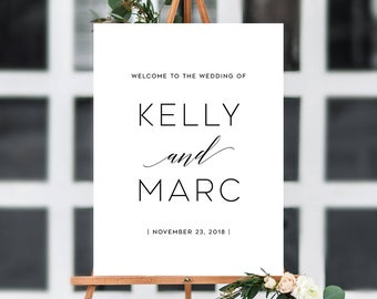 Wedding Welcome Sign, Printable Welcome Sign, Reception Sign, Welcome To Our Wedding Sign | Any Size and Color