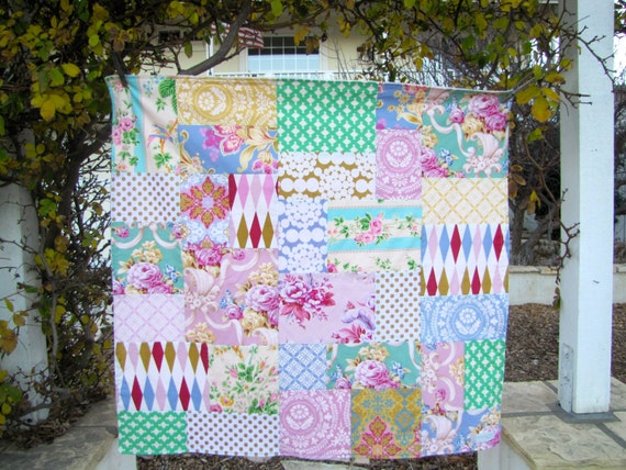 32x35 Pastel Patchwork & Minky Baby Blanket Ready to Ship